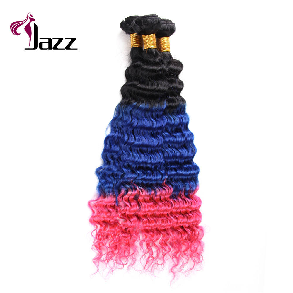 China Factory Fashion T Color T1b Blue Pink Weft Hair Extension 9A Brazilian Deep Wave Hair Bundles
