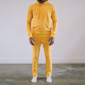 yellow men long sleeve short hoodies casual two piece sets sweatshirt suits
