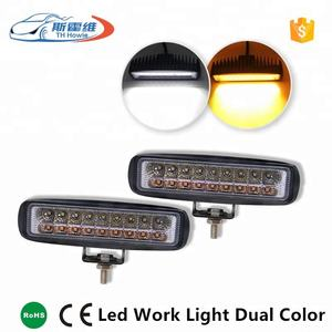 60W Car Led Work Lamp Bar Amber + White Dual Color Combo Beam For SUV Truck ATV Offroad Driving Fog Lamp Auto Work Light DC 12V
