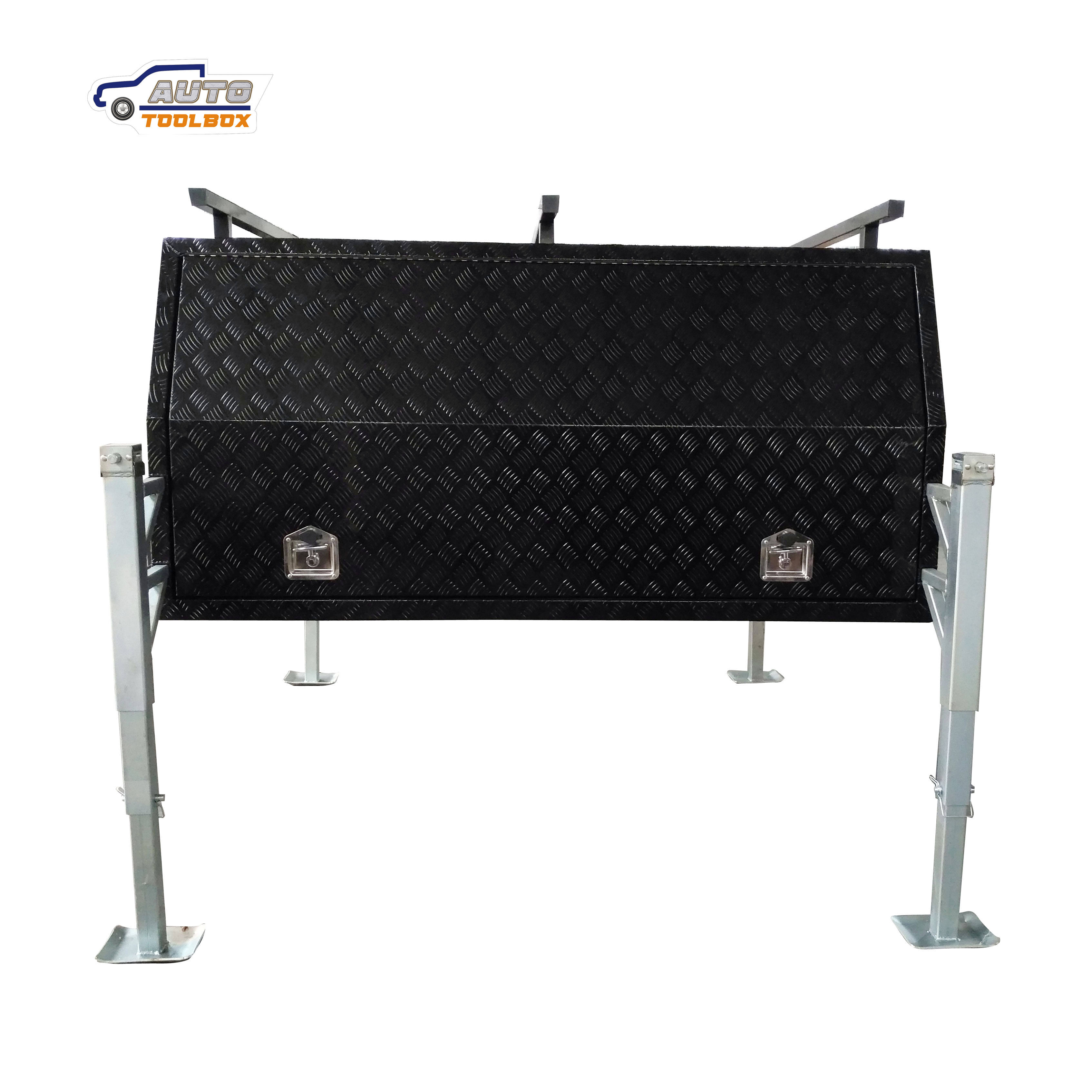 Aluminum Black Truck Tool Box Truck Canopy with three doors and racks BH-C2400JB