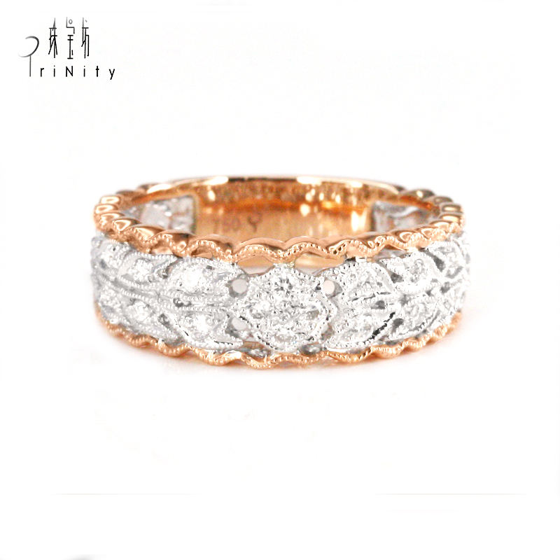 Latest design Real Diamond American Vintage Wedding Promise Couple rings jewelry womens 18K Gold 14 karat gold jewelry