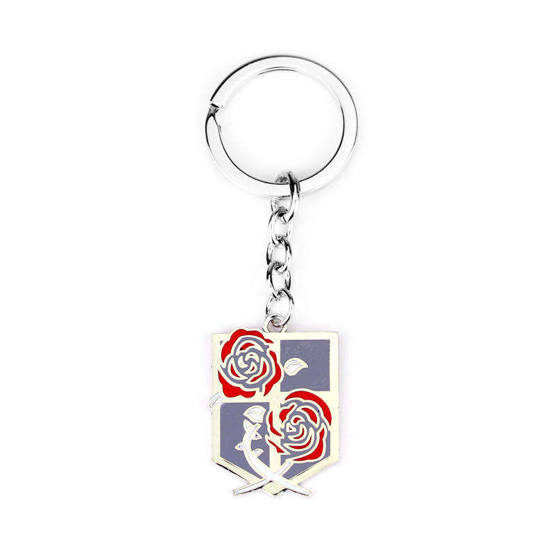 Hot Attack on Titan Keychain Rose logo Metal Dog Tag Car Key Holder Unisex Key Rings Jewelry