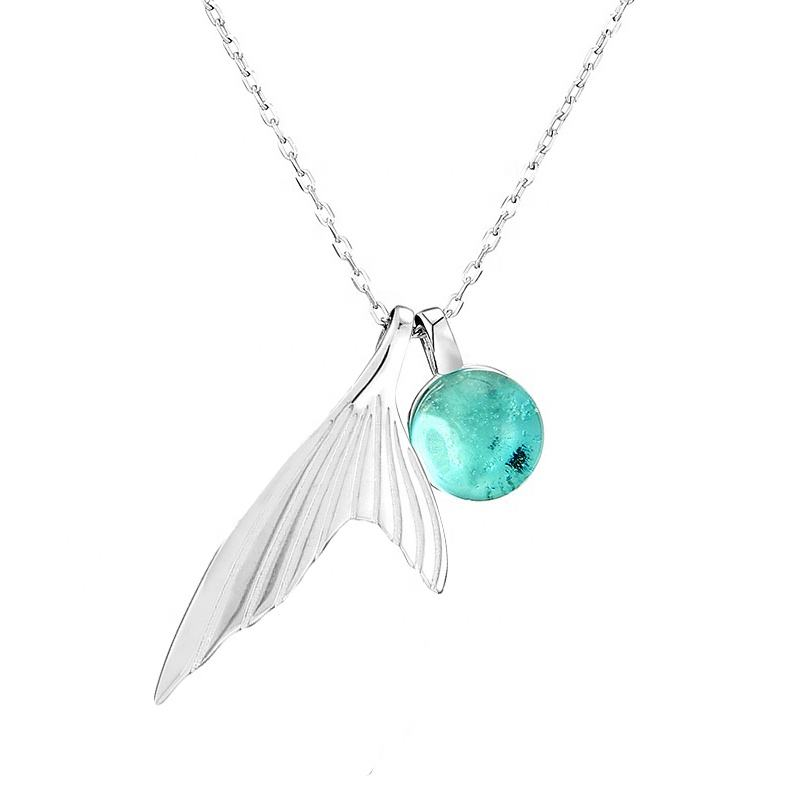 New arrival lovely charm jewelry mermaid tail necklace 925 silver ocean mysterious blue fish tail necklace