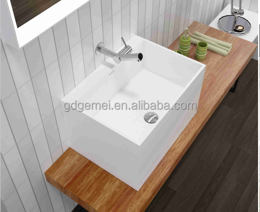 solid surface sink sanitary ware cheap acrylic resin cabinet hand wash basin