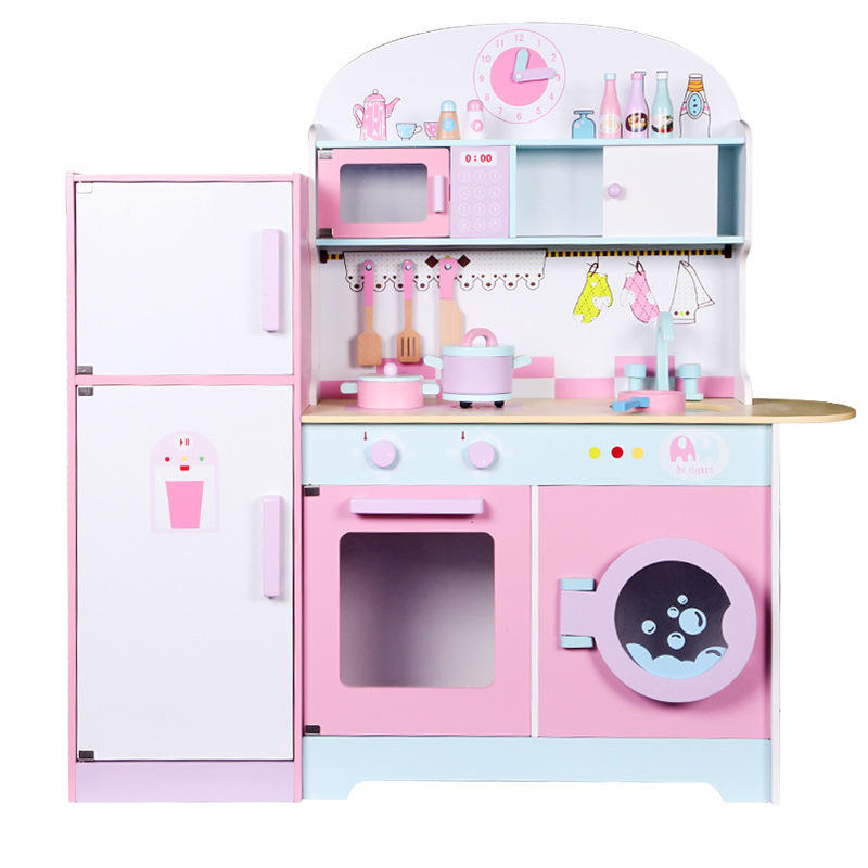 Hot sale pink wooden large kitchen refrigerator toy for the girls pretend playing educational kitchen toys for kids