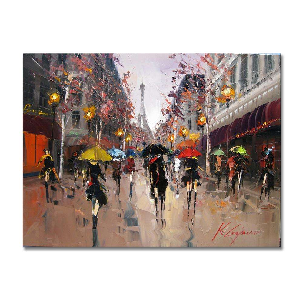 High Quality Paris Scenery Streetscape Canvas Artist Oil Paintings for Living Room Wall