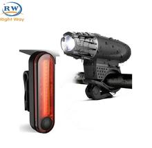 Amazon Hot Selling Bicycle Accessories Cycling Light USB Rechargeable LED Bike Light Set