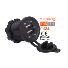 12V 24V DC Fast Charging 2.1A Car Charger Dual USB for Bus Marine