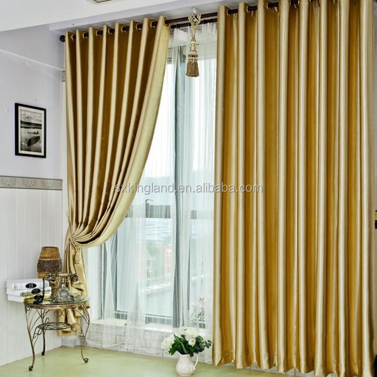 One side shiny gold color embossed curtain with matching window curtain