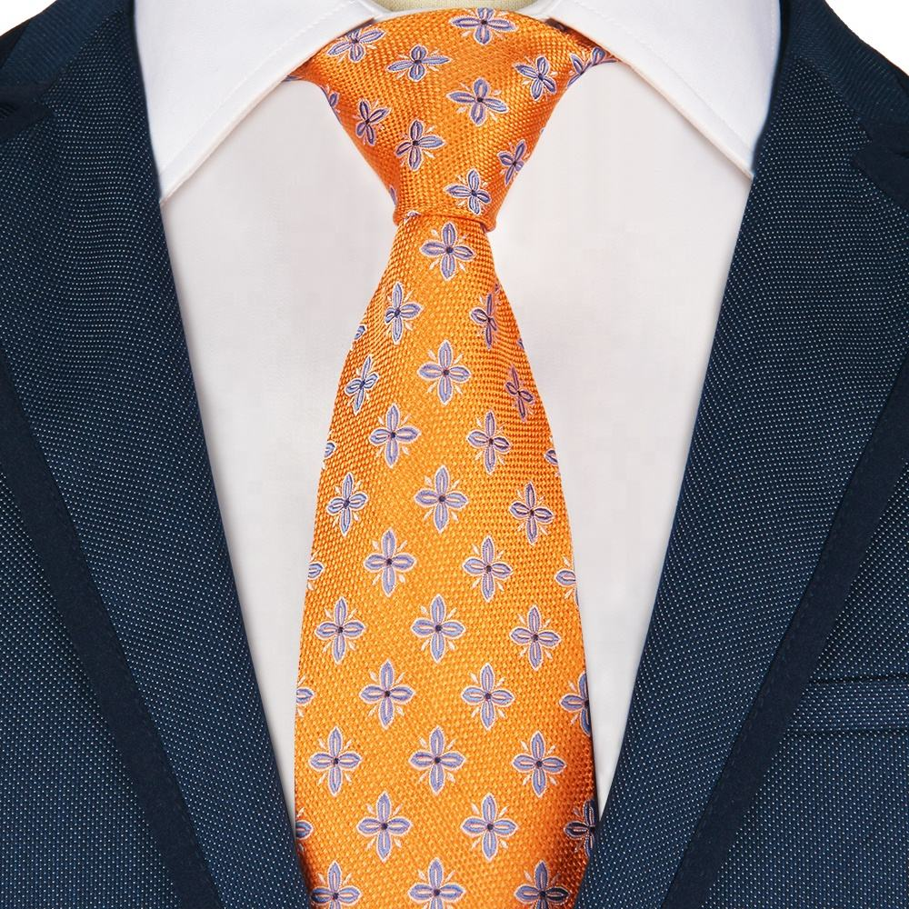 Man Fashion Elegant 100% Silk Handmade Orange Yellow Paisley Plaid Golden Tie
