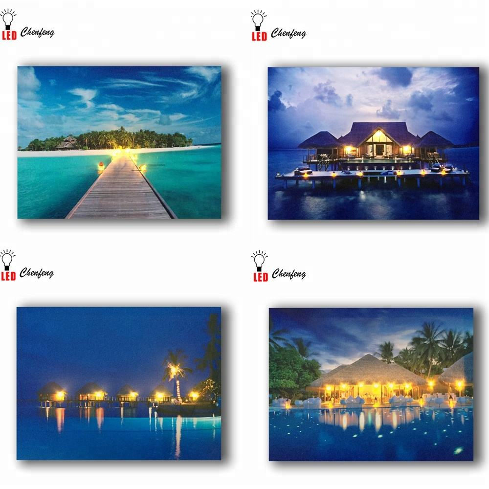 Led painting on canvas Maldives holiday resort with cottage seascape picture wall art decor poster and print light up