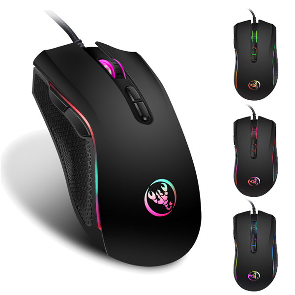 New design 3200dpi factory hot sell 3 keys rgb gaming wired mouse dazzle light gaming mouse