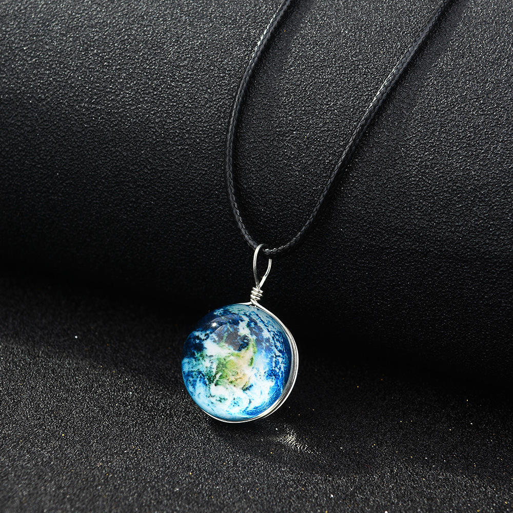 New 20MM double-sided hand-made glass ball luminous necklace Harajuku universe dream starry sky time gem pendant necklace
