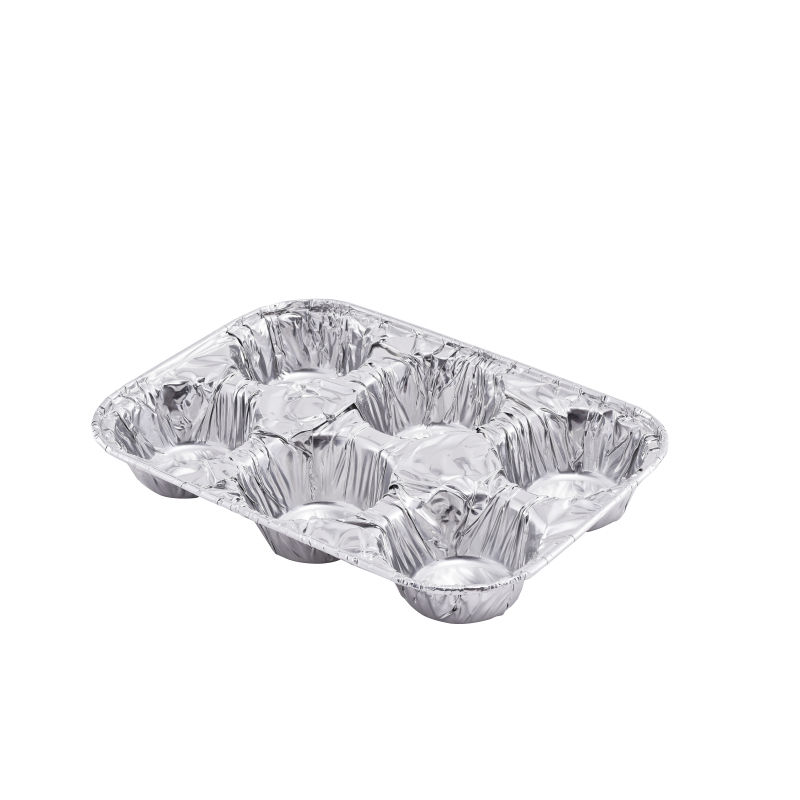 Compartment 6 muffin Aluminum Foil Baking Tray,Manufacturers 6 Cavity Egg Tart Production Mold