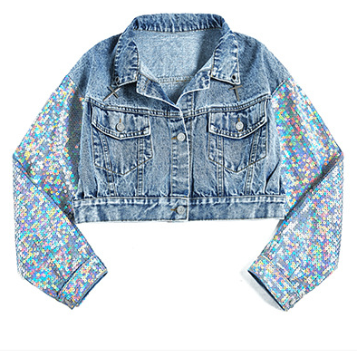 2019 In stock high quality jackets women clothing light blue denim jackets for girls