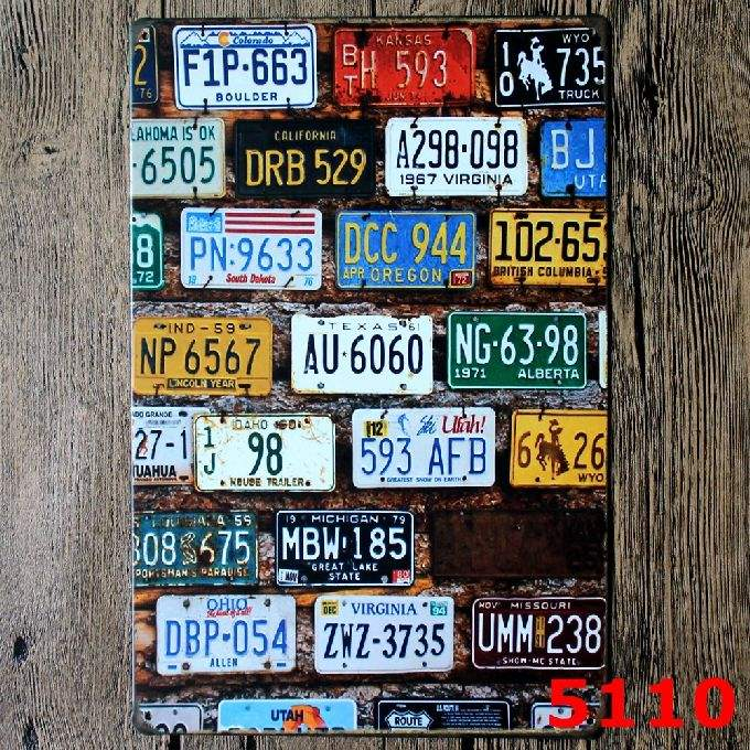 All kinds of Car Plates Vintage metal sign printing Bar pub home Cafe Restaurant Wall Decor Retro Metal Poster