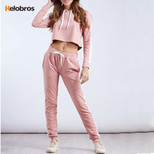Latest Style Fashion Custom Ladies Sexy Crop Hoodies Sets Tracksuits For Women