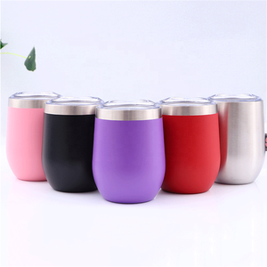 12oz Wine Tumbler Glasses with Lid - Vacuum Insulated 18/8 Stainless Steel tea Cup