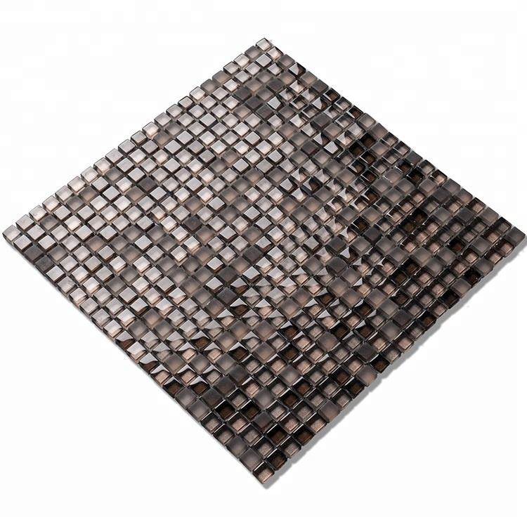 Mini square crystal waterjet glass mosaic tiles sheet for wall mirror mosaic luxury tile