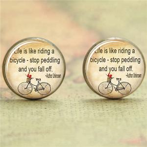bicycle Quote Life Earring bike with basket of flowers glass Photo Cabochon Earring