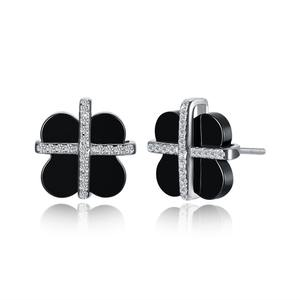 Tryme18CE035-B Fashion amazon cross 925 sterling silver white gold plated black ceramic plum flower stud earrings for girls