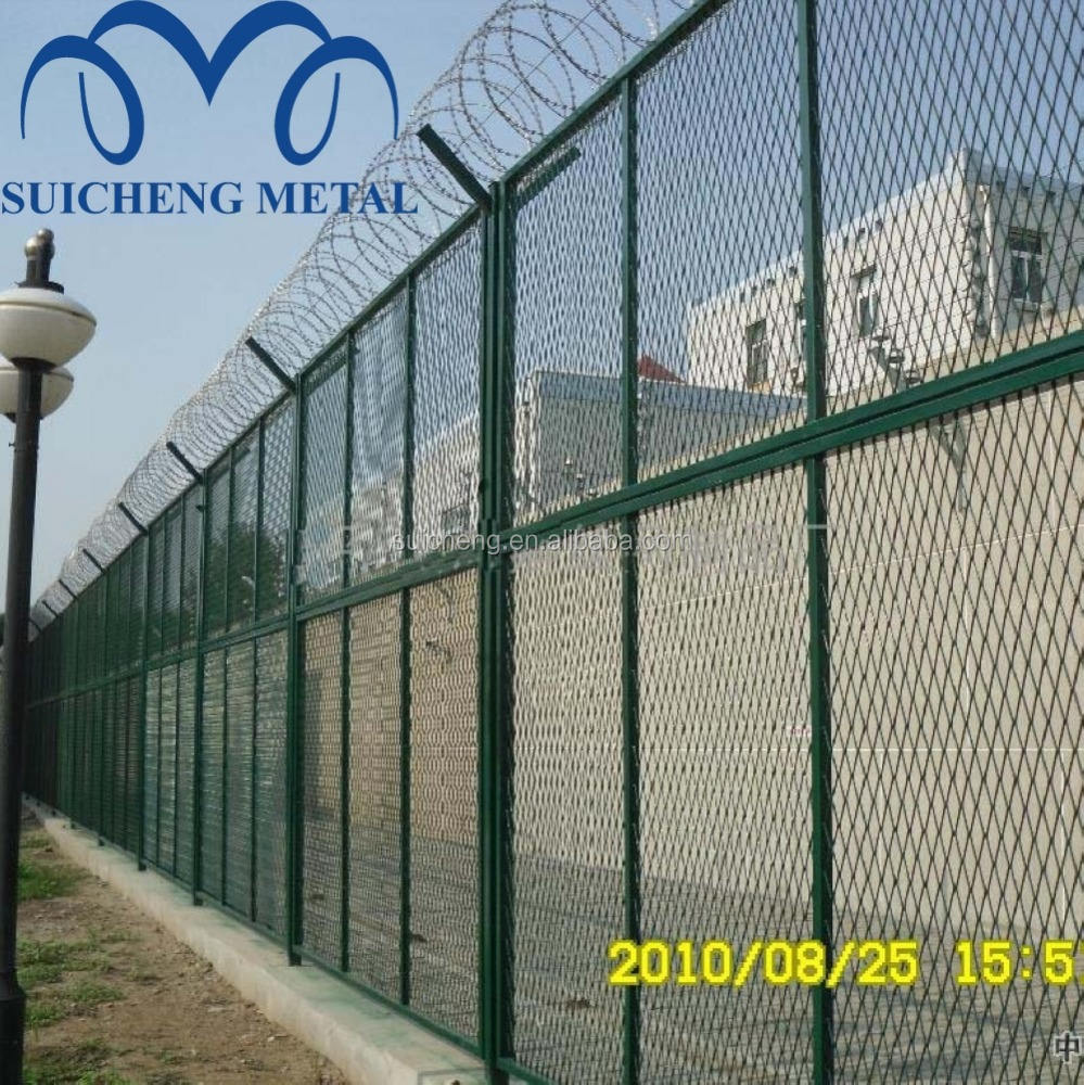 Wholesale High Security Fence with Razor Wire/Hot Dipped Galvanized V Post Airport fence/Security Wire Mesh Fence(Factory)