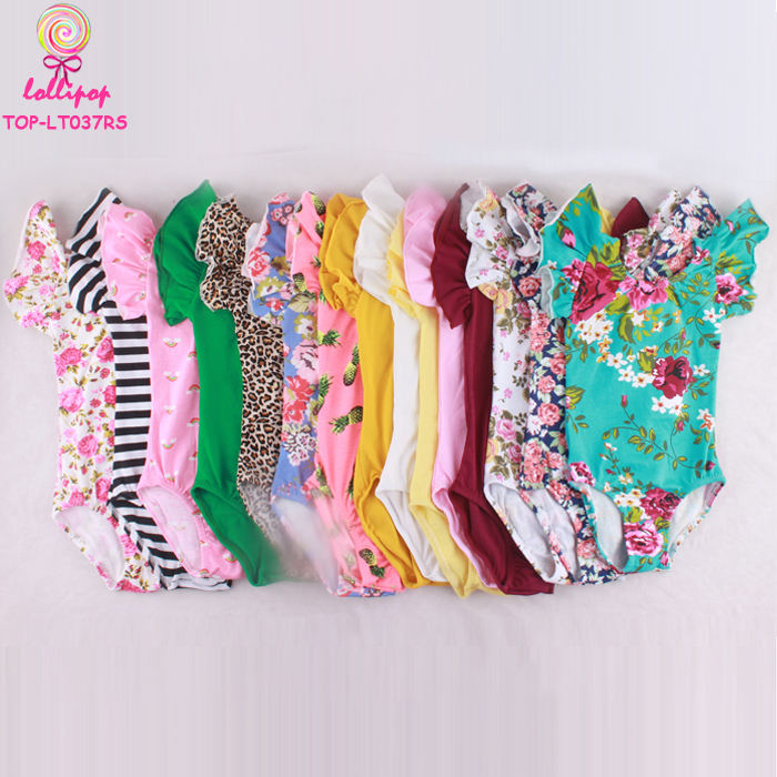 Wholesale MultiColor Ruffle Short Sleeve Baby Girls Ballet Leotards Infant & Toddlers Floral Futter Sleeve Baby Leotards Romper