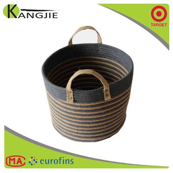 Eco casa OEM 100% artesanal cesta de armazenamento de juta para venda
