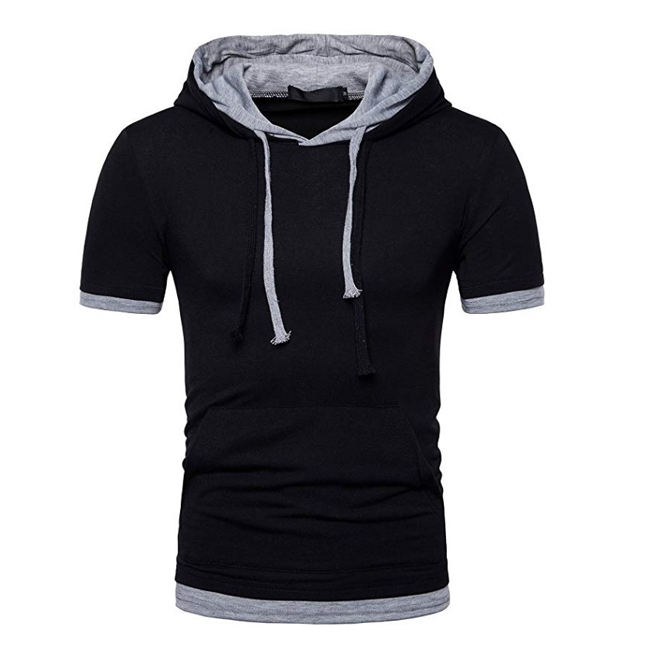 new style short sleeves tee shirt two tone cotton blank hooded t-shirts