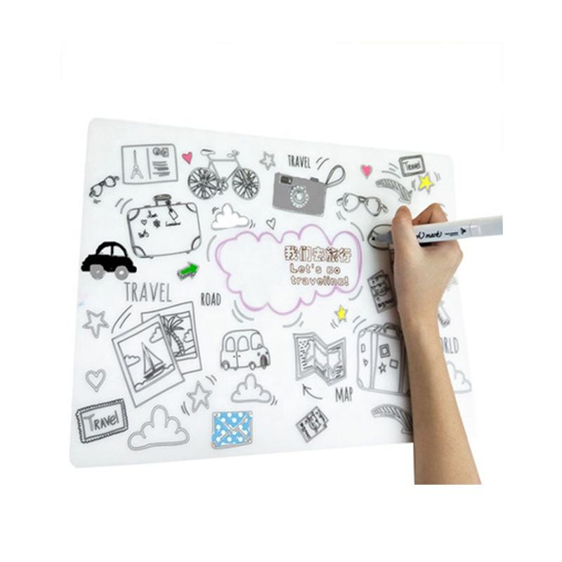 Customer Logo BPA free silicone baby placemat drawing mat for kids
