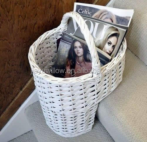 Wholesale White Wicker Oval Stair Basket / Step Basket with Handle