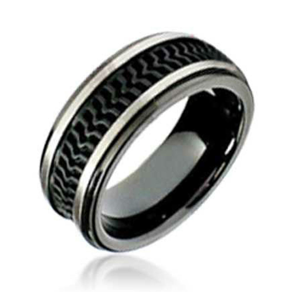 5 Pieces Mens Bark Texture Rubber Wedding Bands Rings Jewelry 8.7mm Wide