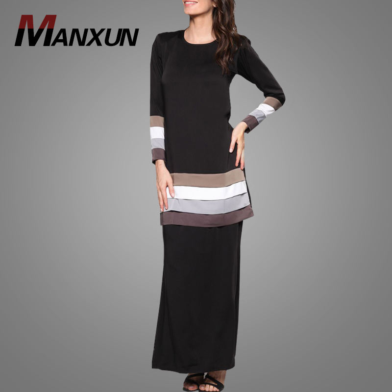 Simple Style Baju Kurung Muslim Dress Long Sleeve Casual Malaysia Baju Kebaya New Model Islamic Clothing For Women