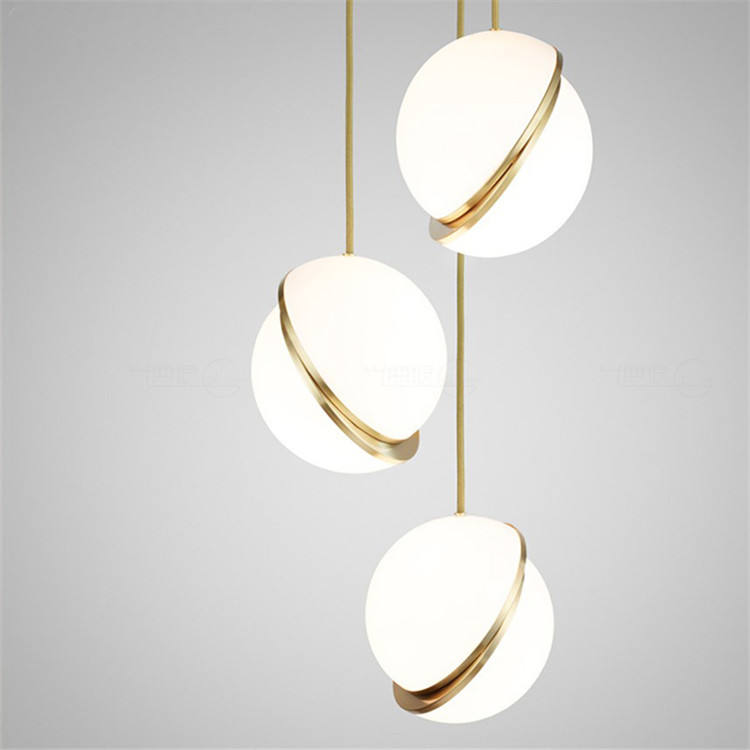 Global Round Ball Hanging Ball Pendant Lamp white and golden Color