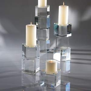 Clear acrylic / perspex / lucite candle holders, candlestick riser
