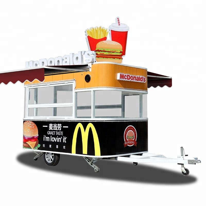 mobile fast food cart with coffee machine and mobile food trailer with kitchen