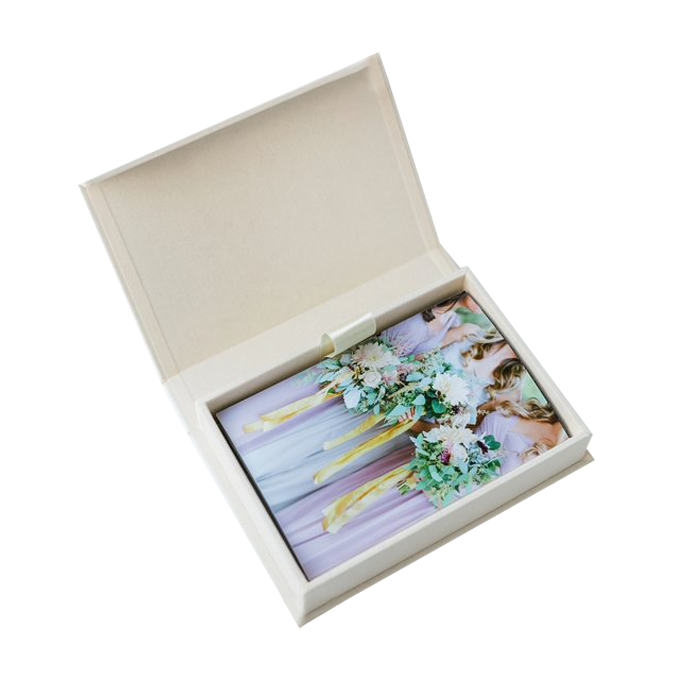 Free Sample Exquisite Custom Photo Album Packaging And Usb Drive Packing Gift Boxes With Magnetic Lid Closure