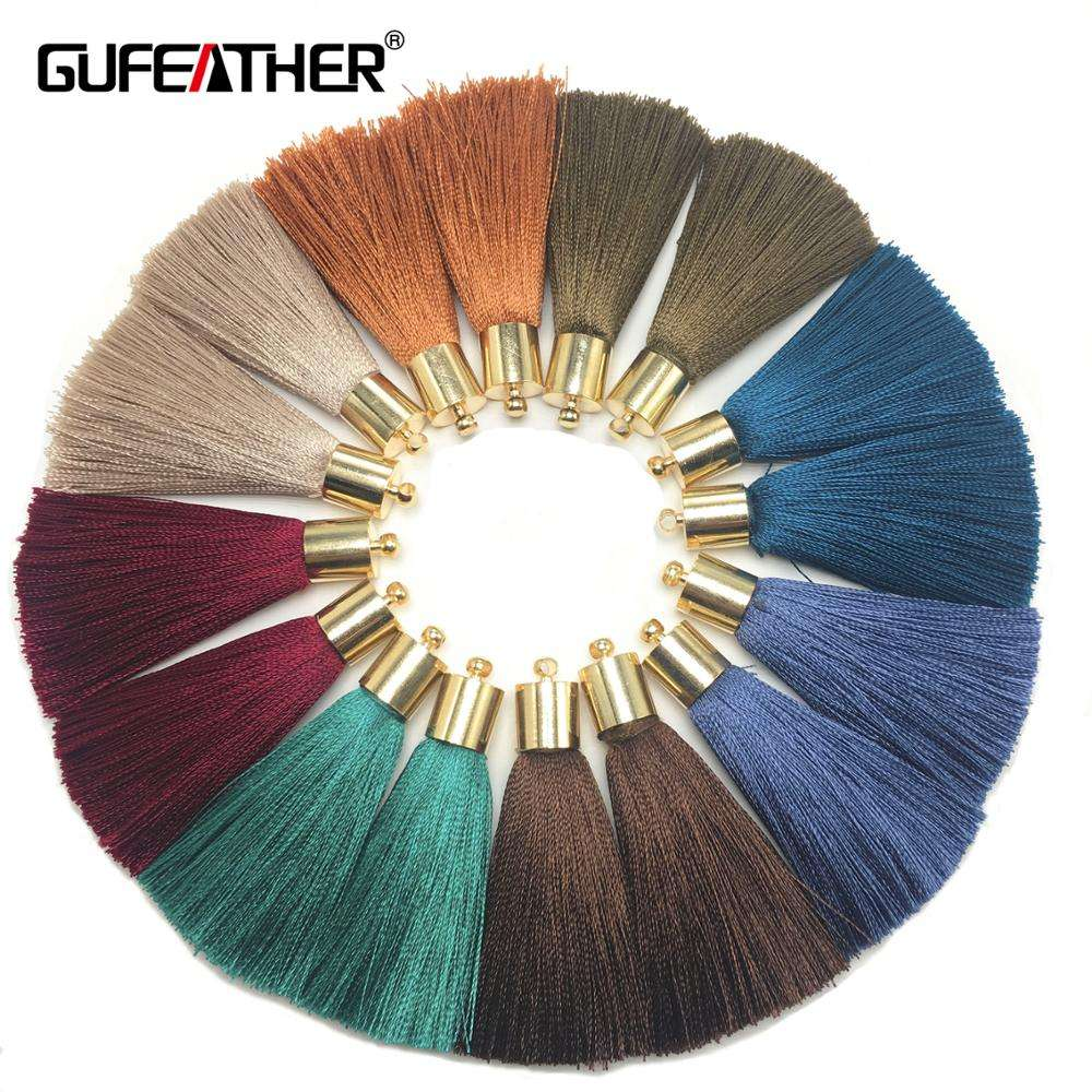 GUFEATHER L95 Colorful Silk Tassels With Golden Cap Handmade For Jewelry Accessories For Diy Earrings,4pcs/pack