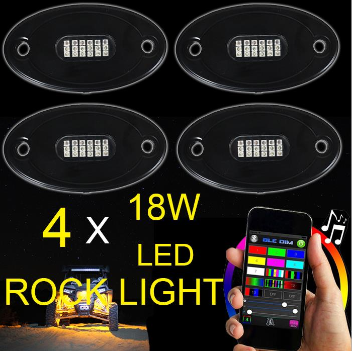 4,6,8,12 Pods Led Waterdichte Rock Licht Rgb Multicolor App Bluetooth Controle Muziek Knipperende Auto <span class=keywords><strong>Underbody</strong></span> Rock Led Verlichting