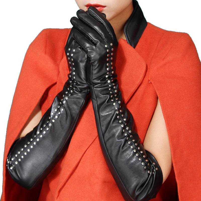 Fashion party texting winter sheepskin sexy women leather long elbow gloves