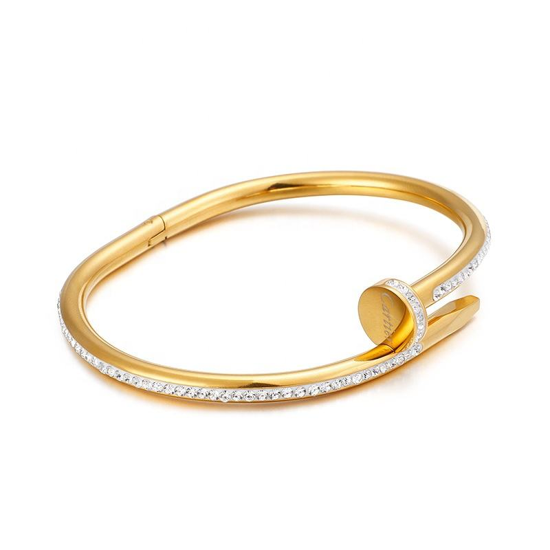 New Wholesale 싼 패션 Stainless Steel 금 Love Bangle Diamond 못 Bracelet