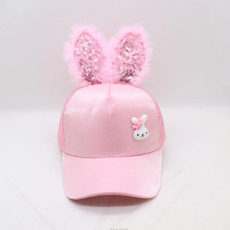 Wholesale Spring Summer Children Baseball Cap hats Girls and boys Snapback Hip Hop Caps Rabbit Ear sequins mesh cap