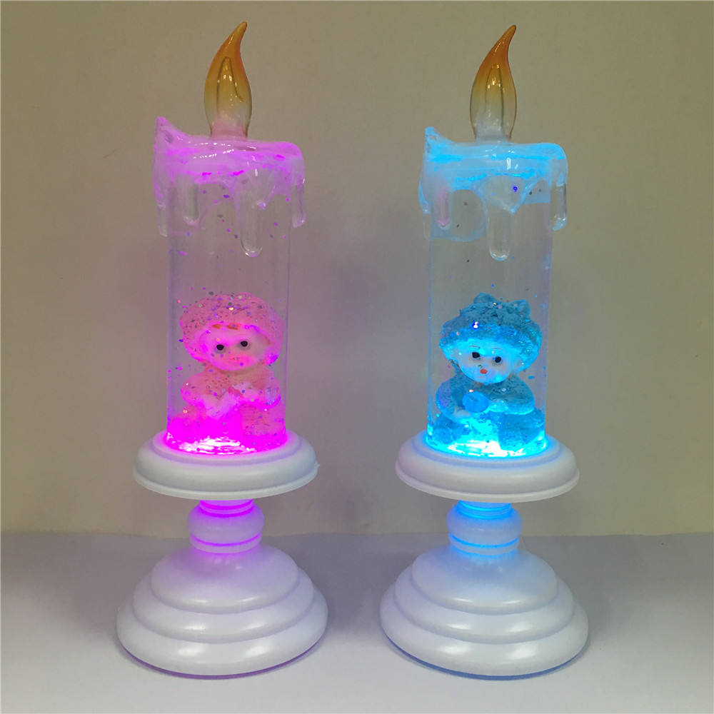 New Design Novelty Color Changing LED Crystal Water Snow Globe Baby Shower Decoration Gift Candle