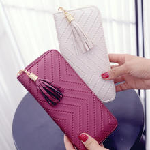 billeteras para mujer Ladies Fashion Tassel Purse Bags Long Zipper Money Clip Card Holder Leather Women Clutch Bag Wallet Hot
