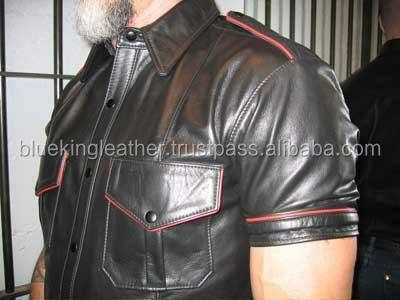 MENS HOT REAL SHEEP LEATHER POLICE UNIFORM BLUFF GAY SHIRT FULL SLEEVES