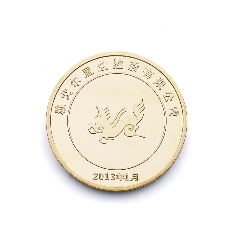 China Promotionele Custom Bedrijf Logo Souvenir Metalen Stempelen Pure Gold Coin