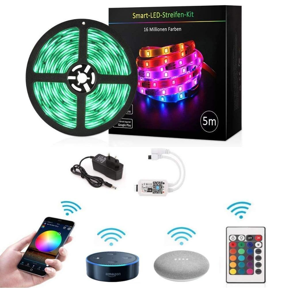 Akses Internet Nirkabel LED Strip Lampu, Minesweeper 16.4ft Tahan Air Nirkabel Aplikasi Ponsel Pintar Controlled Light Strip Kit amazon Alexa Google Assista
