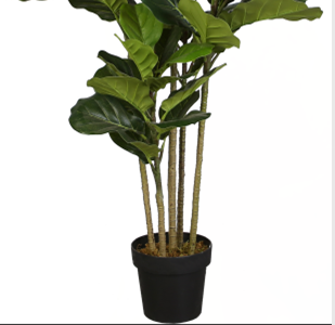 Green Artificial Potted Banyan Lyrata Plants Ficus Fiddle Leaf Fig Tree