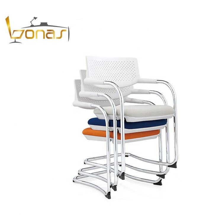 Popular stackable solid steel frame stackable office meeting room chair