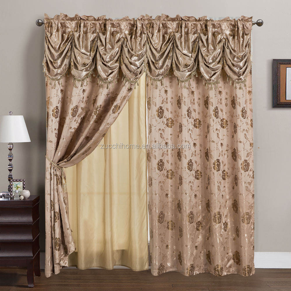 2019 New American style wholesale two layer polyester jacquard fabric curtain with valance and lining